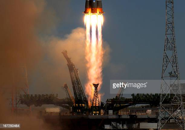 A Soyuz21b carrier rocket carrying a BionM satellite blasts off from a launch pad in the Russian leased Kazakhstan's Baikonur cosmodrome on April 19...