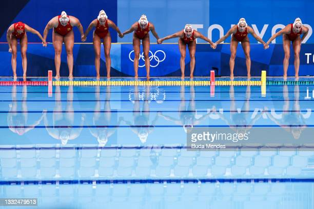 Sp during the Women's Semifinal match between Spain and Hungary on day thirteen of the Tokyo 2020 Olympic Games at Tatsumi Water Polo Centre on...