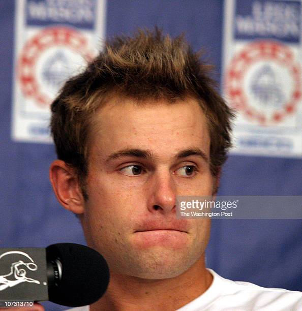 sp_legg1 7/31/06 182599 LEGG MASON TENNIS CLASSIC Post Photos by Rich Lipski Due to injury secondseed Andy Roddick informs the news media that he is...