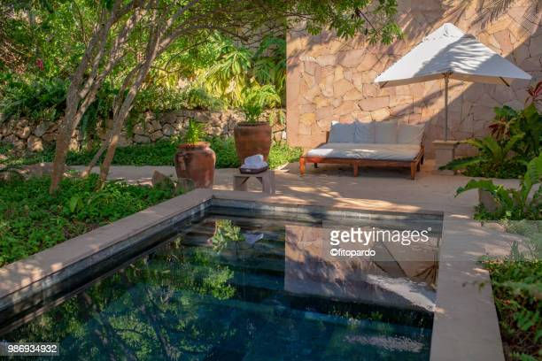 spa and pool reflecting trees - poolbillard billard stock-fotos und bilder