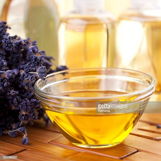 spa concept with lavender - massage oil stock pictures, royalty-free photos & images