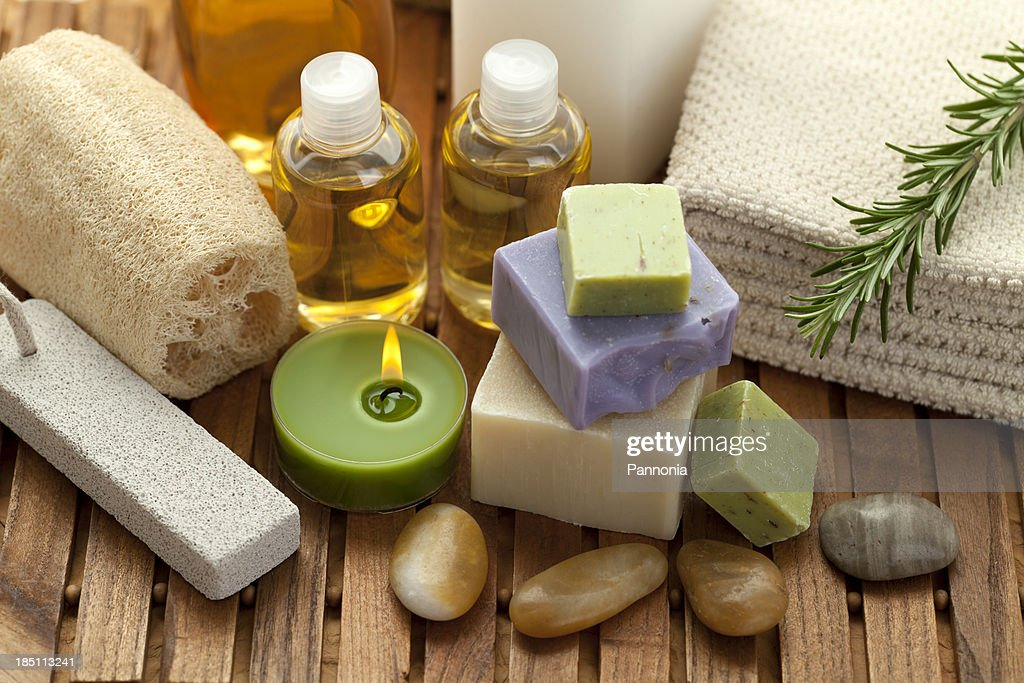 Spa concept with soap, rosemary : Stock Photo
