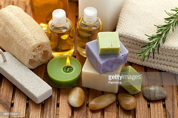 spa concept with soap, rosemary - loofah stock photos and pictures