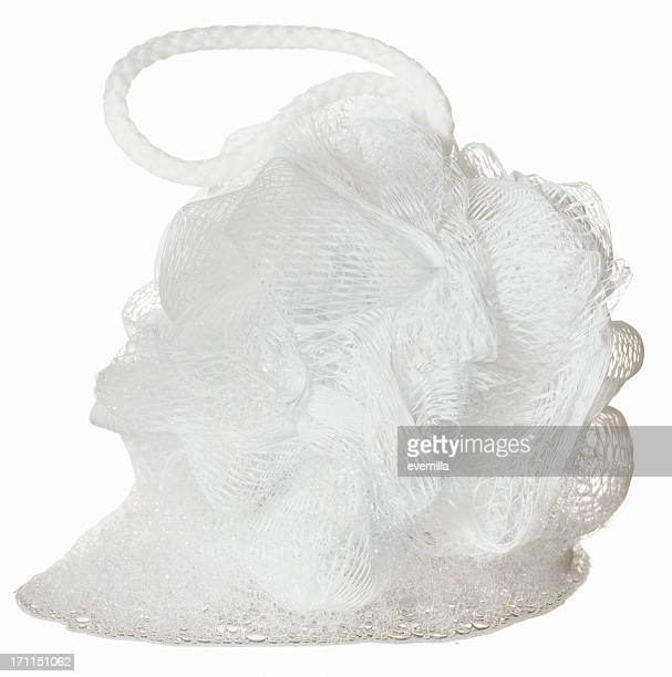 spa items - bath puff - loofah stock photos and pictures