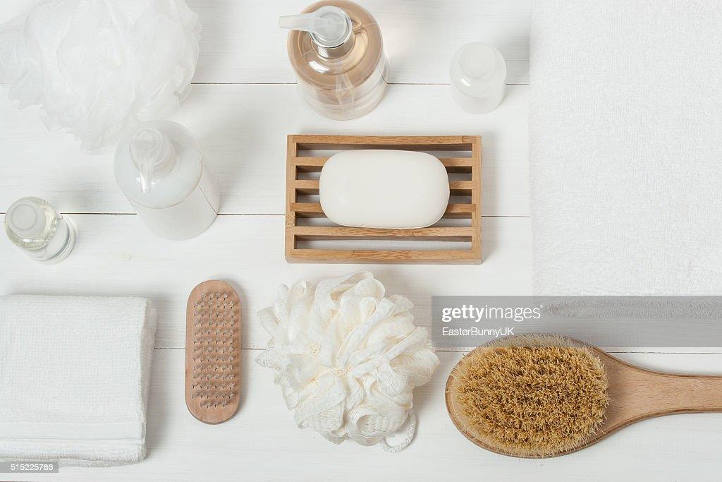 Spa Kit. Shampoo, Soap Bar And Liquid. Shower Gel. Aromatherapy : Stock Photo