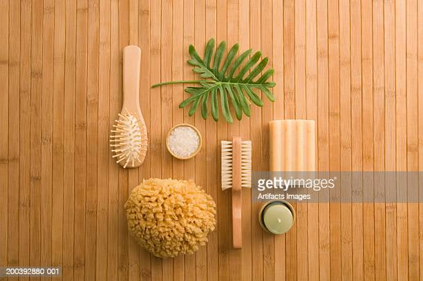 spa products - loofah stock photos and pictures