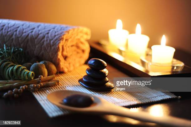 Spa setting with massage stones