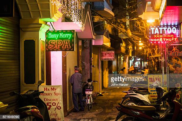Spa Sign, Night street scene, Hanoi, Vietnam