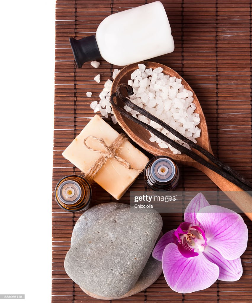 Spa still life isolated on white background, top view. : Stock Photo