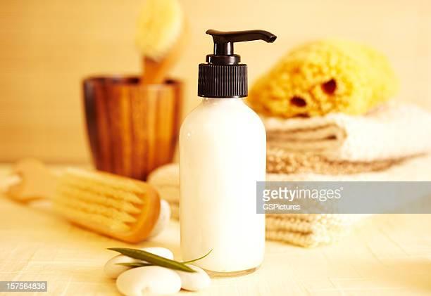 Spa still life of moisturizer lotion in bathroom