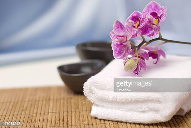 Spa towel withy orchid on Bambu spa
