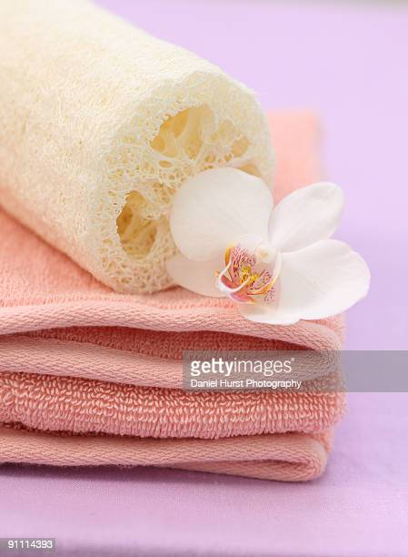 spa towels with orchid and loofah - loofah stock photos and pictures