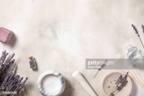 spa treatment natural background .top view, flat lay. self-care concept. - cosmetics stock pictures, royalty-free photos & images