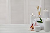 Spa treatments on white wooden table