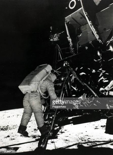 Space Exploration 20th July 1969 USastronaut Buzz Aldrin born 1930 decends the steps of the lunar module as he prepares to walk on the moon's surface...