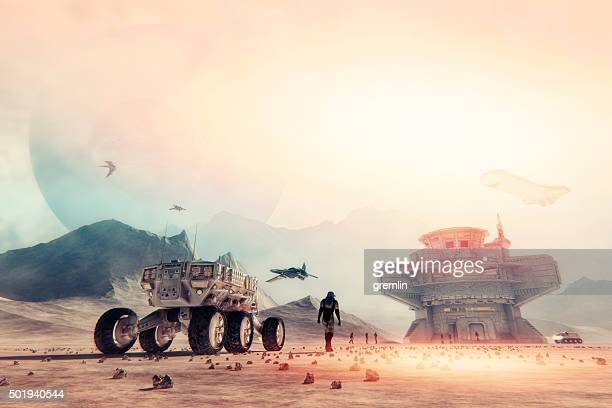 space exploration and planetary colonization - spaceship stock photos and pictures