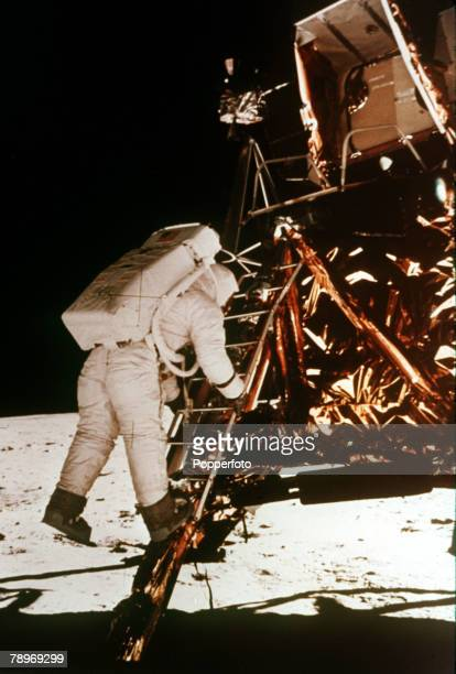 Space Exploration Apollo 11 Astronaut Edwin Buzz Aldrin descends the steps of the lunar module to the moon's surface on the 20th July 1969 to become...