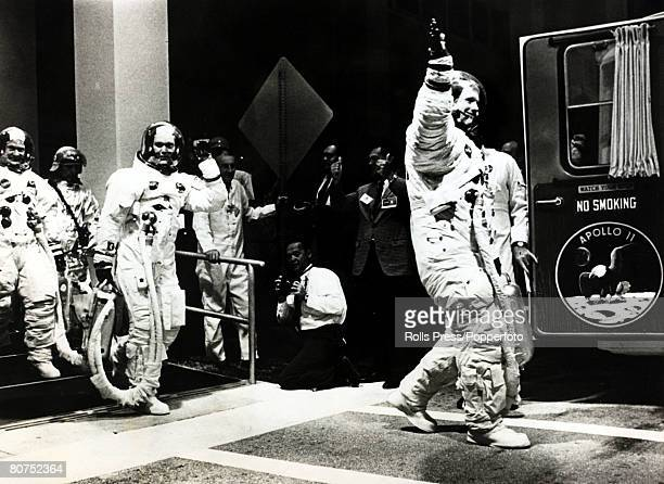 16th July 1969 US astronaut Neil Armstrong leads the Apollo II crew Michael Collins centre and Buzz Aldrin Ieft to the launch pad before the blastoff...