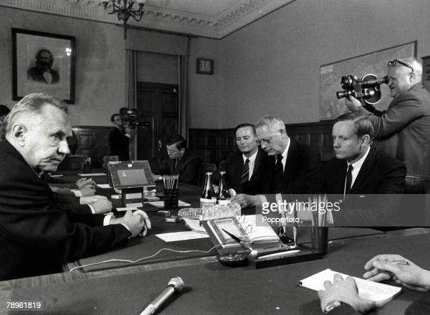 3rd June 1970 Neil Armstrong astronaut of Apollo 11 fame at a meeting in Moscow with Soviet Prime Minister Alexei Kosygin far left Neil Armstrong...