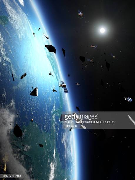 space junk around earth, illustration - planet earth stock pictures, royalty-free photos & images