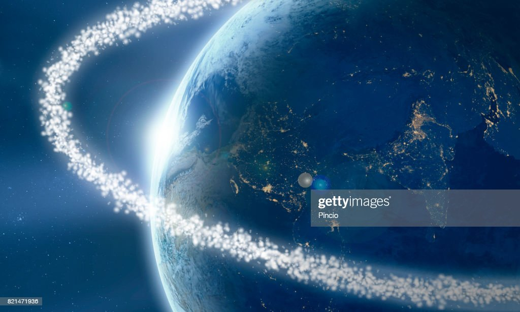 Space junk ring around the Earth viewed from space : Stock Photo