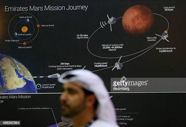 A space mission to Mars map sits on the wall of the UAE Space Agency exhibition stand on the second day of the 14th Dubai Air Show at Dubai World...