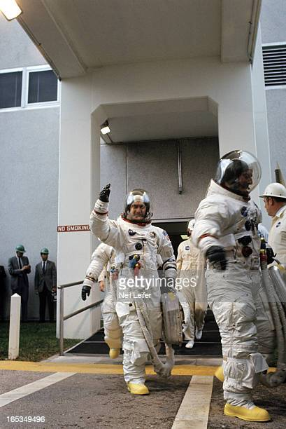 NASA Apollo 12 View of Command Module Pilot Richard F Gordon with Commander Pete Conrad and Lunar Module Pilot Alan Bean before spaceflight to moon...