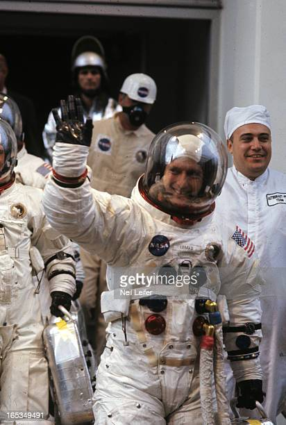 NASA Apollo 12 View of Commander Pete Conrad Command Module Pilot Richard F Gordon and Lunar Module Pilot Alan Bean before spaceflight to moon from...