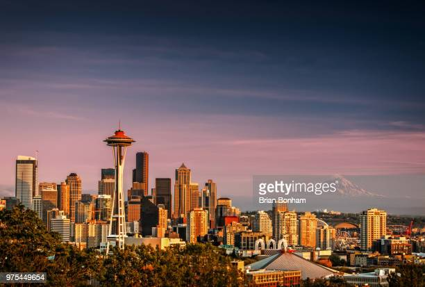 space needle and skyline, seattle, washington state, usa - performing arts center stock pictures, royalty-free photos & images