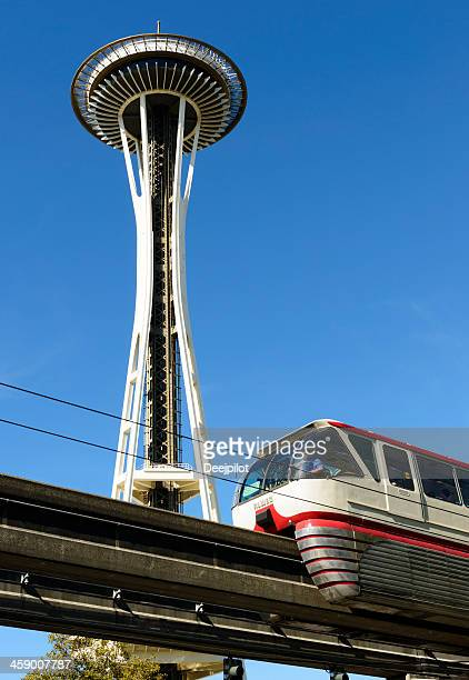 space needle in seattle usa - monorail stock pictures, royalty-free photos & images