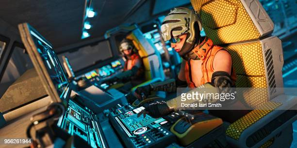 Space Pilots: women flying science fiction space ship