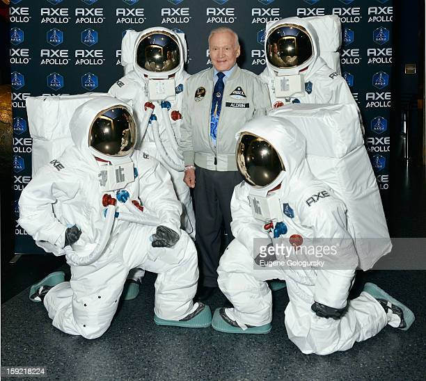 Space Pioneer Buzz Aldrin announces AXE to Send 22 Guys to Space with New Apollo Campaign at American Museum of Natural History on January 9 2013 in...