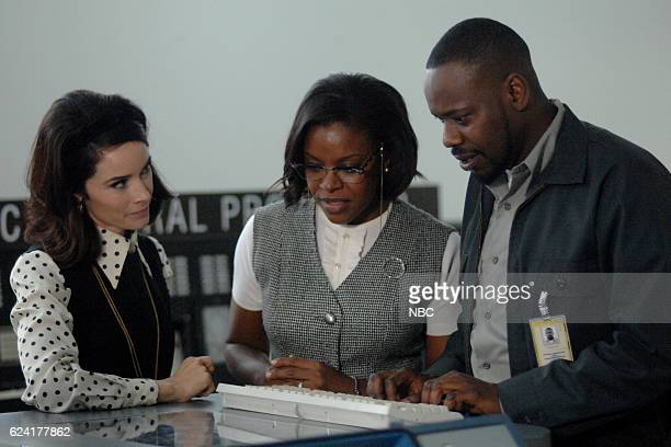 TIMELESS 'Space Race' Episode 107 Pictured Abigail Spencer as Lucy Preston Nadine Ellis as Katherine Johnson Malcolm Barrett as Rufus Carlin