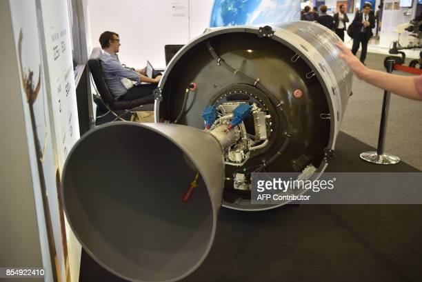 A space rocket engine is displayed during the 68th International Astronautical Congress 2017 in Adelaide on September 28 2017 The 68th International...