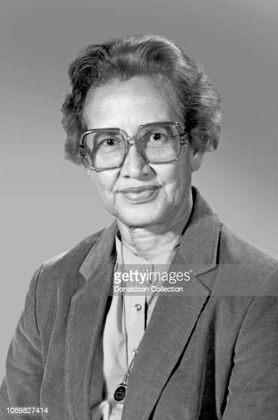 NASA space scientist and mathematician Katherine Johnson poses for a portrait at work at NASA Langley Research Center circa 1975 in Hampton Virginia