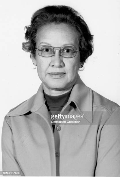 NASA space scientist and mathematician Katherine Johnson poses for a portrait at work at NASA Langley Research Center circa 1968 in Hampton Virginia