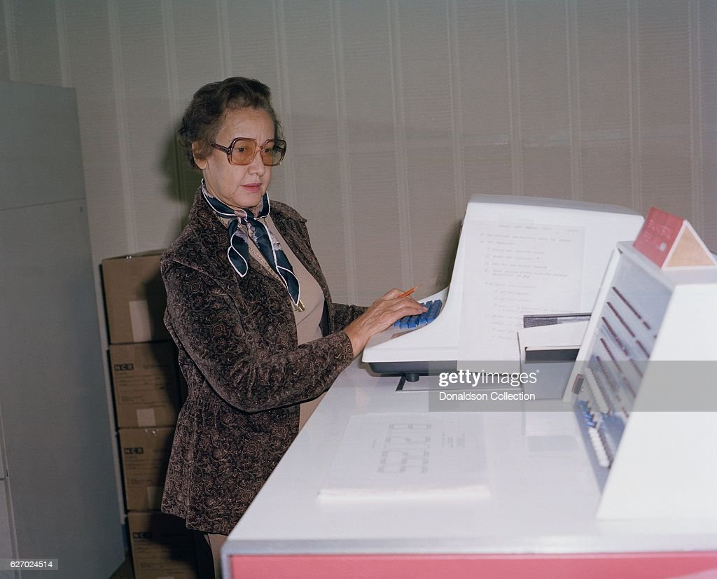 Nasa E Scientist And Mathematician Katherine Johnson Poses For A Portrait At Work