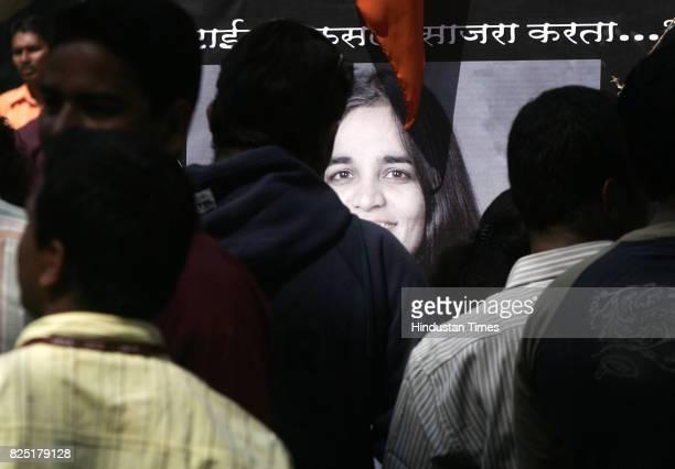 Space Scientist Kalpana Chawla being remembered by the Activists of Bhartiya Vidyarthi Sena at Kirti College at Dadar on Valentine's Day in Mumbai on...