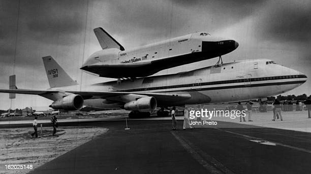 AUG 13 1979 AUG 14 1979 Space Shuttle Arrives In Denver Boeing 747 crew members Stapleton International Airport security personnel and news media...