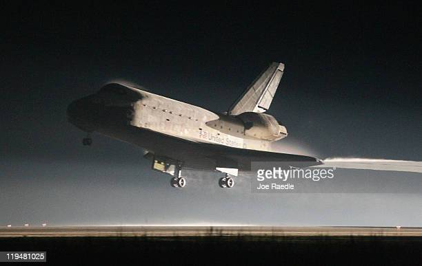 Space Shuttle Atlantis lands at Kennedy Space Center July 21, 2011 in Cape Canaveral, Florida. Atlantis was the shuttle final mission for NASA,...