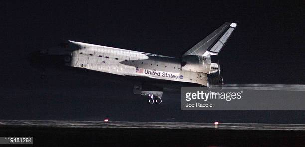 Space Shuttle Atlantis lands at Kennedy Space Center July 21, 2011 in Cape Canaveral, Florida. Atlantis was the final shuttle mission for NASA,...