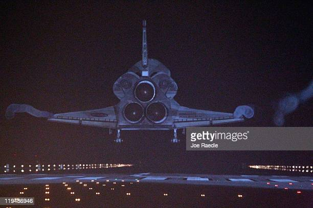 Space Shuttle Atlantis lands at Kennedy Space Center July 21 2011 in Cape Canaveral Florida Atlantis was the shuttle final mission for NASA ending...