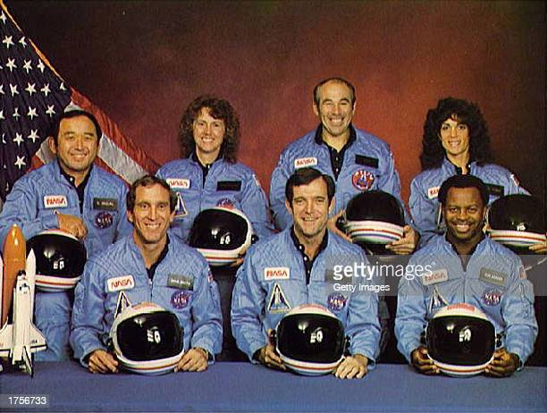 Space Shuttle Challenger crew members gather for an official portrait November 11 1985 in an unspecified location Mission Specialist Ellison S...