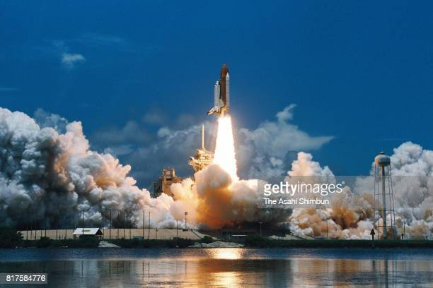 Space Shuttle Columbia carrying STS65 members lifts off from the launch pad at the Kennedy Space Center on July 8 1994 in Cape Canaveral Florida