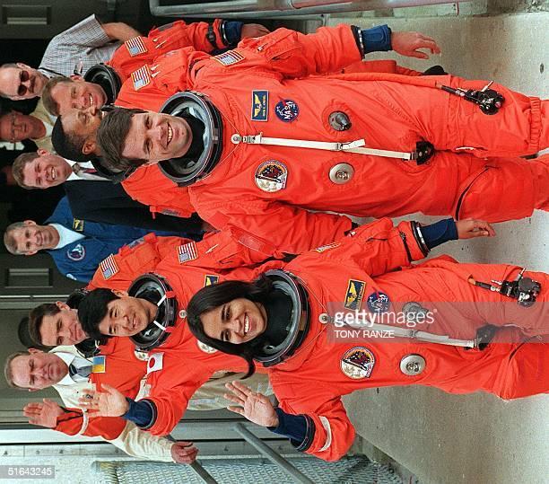 US space shuttle Columbia crew Indian born US Kalpana Chawla Japanese Takao Doi Ukranian Leonid Kadenyuk US Commander Keven Kregel US Winston Scott...