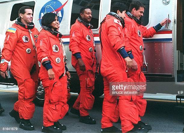 US space shuttle Columbia crewmembers Ukranian Leonid Kadenyuk Indian born American Kalpana Chawla American Winston Scott Japanese Takao Doi and US...