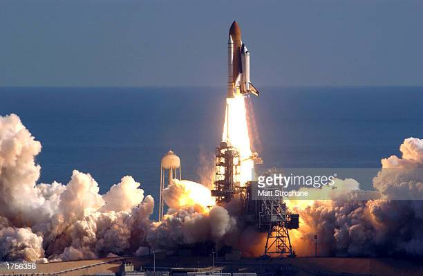 Space Shuttle Columbia lifts off of launch pad 39A from the Kennedy Space Center January 16 2003 in Cape Canaveral Florida Columbia broke up upon...