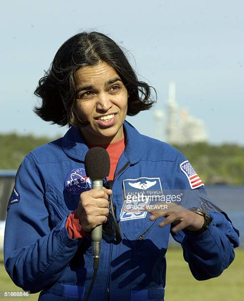 US space shuttle Columbia Mission Specialist US Kalpana Chawla addresses the media 20 December 2002 at Kennedy Space Center Florida Chawla along with...