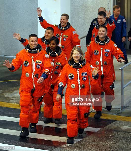 Space Shuttle Discovery astronauts, Pamela A. Melroy, STS-120 commander; George D. Zamka, STS-120 pilot; mission specialists Stephanie D. Wilson,...