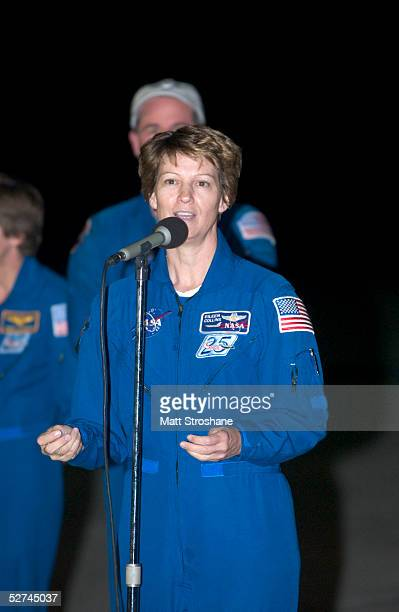 Space Shuttle Discovery Commander Eileen Collins addresses the media after landing her jet at the Kennedy Space Center's Shuttle Landing Facility May...